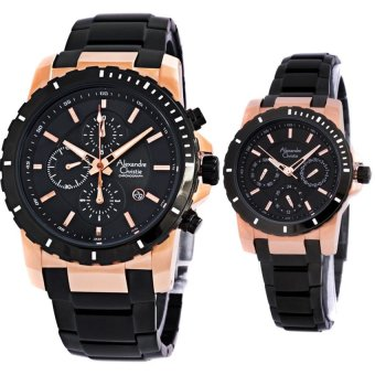 Alexandre Christie - Jam Tangan Couple - 6141MC/BF - Hitam Rosegold- Stainless Steel