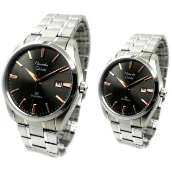 Alexandre Christie Jam Tangan Couple - Silver - Strap Stainless Steel - 8515 .