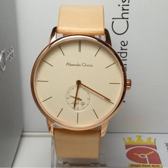 Alexandre Christie Jam Tangan Pria Alexandre Christie AC8486MS Classic Rosegold Stainless Steel Leather Cream