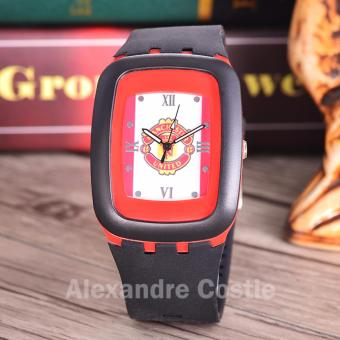 Alexandre Costie Jam Tangan Pria Body Black - White/red Dial Black Rubber Band - AC-RK-MU-006i-Black-Rubber Band