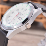 Alexandre Costie - Jam Tangan Pria - Body Silver - White Dial - Black Leather Strap ...