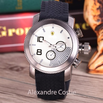 Alexandre Costie - Jam Tangan Pria - Body Silver - White Dial - Black Rubber Band - AC-RK-9995-SW-Hitam