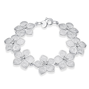 Amart Women Jewelry 925 Sterling Silver Stereoscopic Flower ChainBracelet - Intl