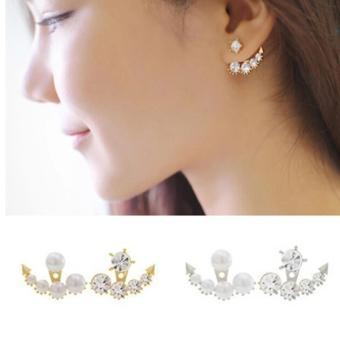 Amefurashi Anting Korea Jangkar Asymmetric Faux Pearl Rhinestone Stud Earring