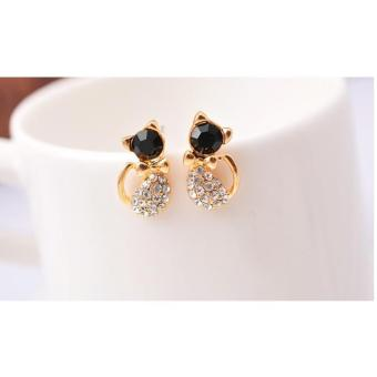 Amefurashi Anting Korea Kawai Kucing Cat Rhinestone Stud EarringBeauty