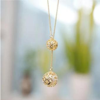 Amefurashi Kalung Korea 2 Bola Emas Hollow 2 Small Ball Beauty Necklace