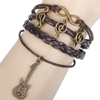 Azone Fashion Alloy Anchor Rudder Leather Friendship Love Couple Charm Bracelet (Black)