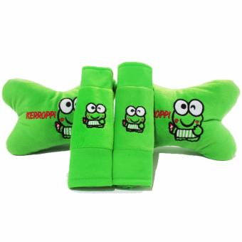 Bantal Mobil 2 in 1 / Bantal Leher / Car Set 2in1 - Keroppi / Keropi