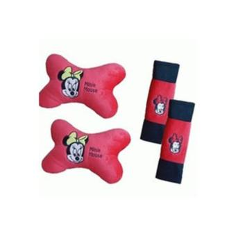 Bantal Mobil 2 in 1 / Bantal Leher / Car Set 2in1 - Minnie Mouse / Mini Mouse