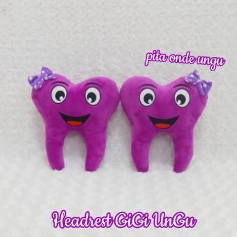Bantal mobil boneka gigi ungu Sandaran kepala gigi ungu
