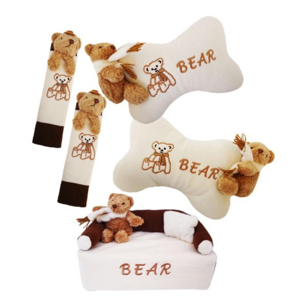 bantal mobil exclusive boneka 3 in 1 bear krem