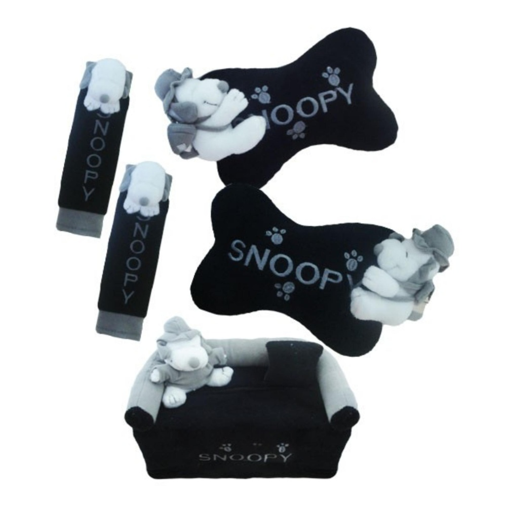 bantal mobil exclusive boneka 3 in 1 snoopy hitam