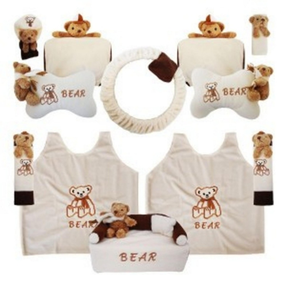 bantal mobil exclusive boneka 8 in 1 bear krem