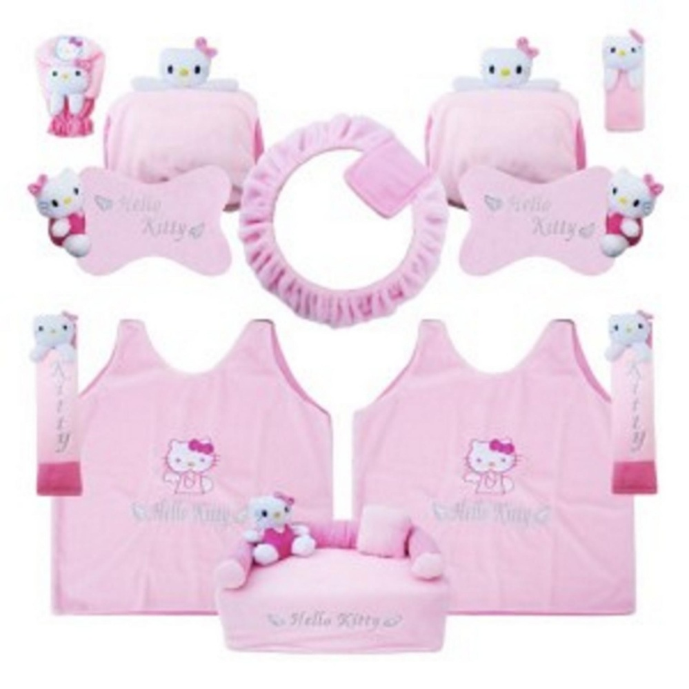bantal mobil exclusive boneka 8 in 1 hello kitty pink