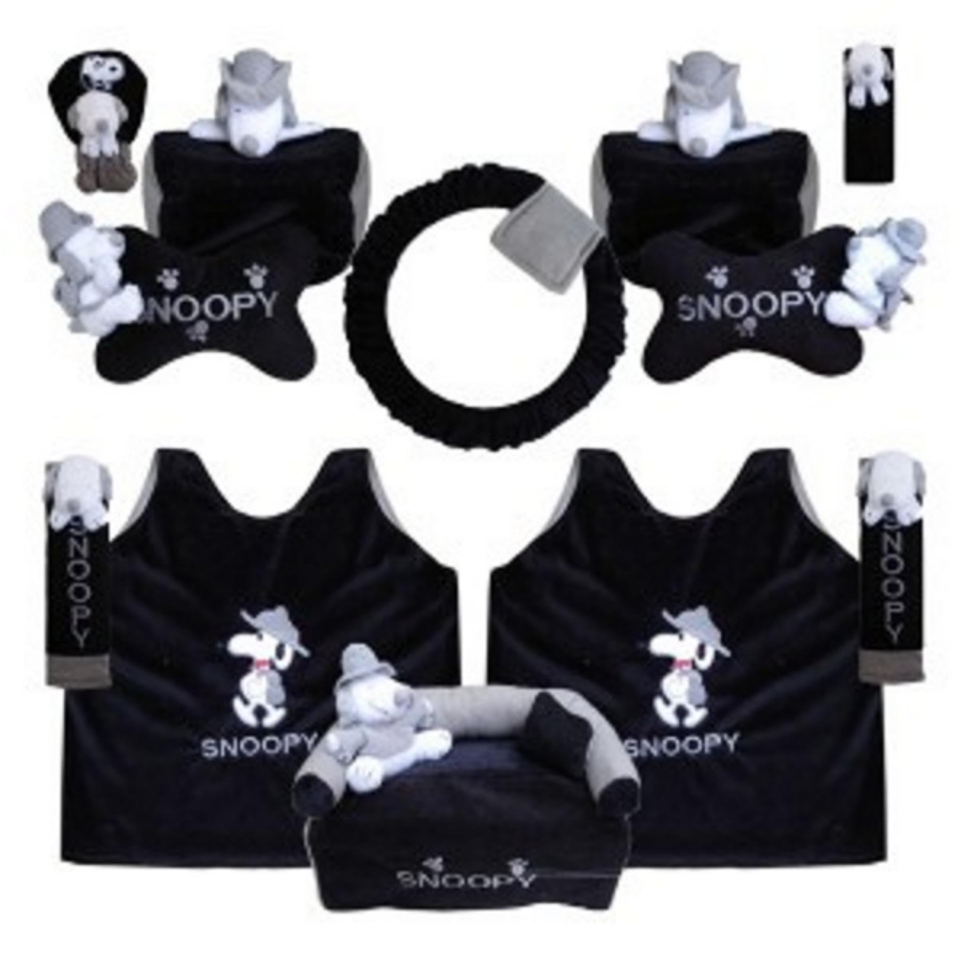 bantal mobil exclusive boneka 8 in 1 snoopy hitam