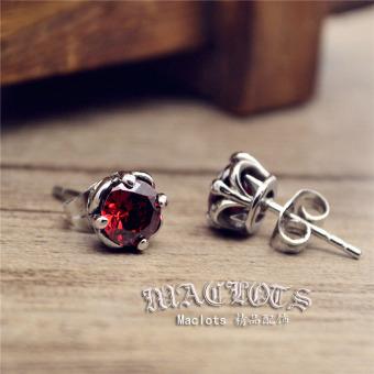 Jepang Korea Retro modis Berlian Merah baja titanium Pria dan wanita pasangan kecil Anting tindik anting