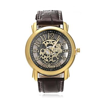 BEST Skeleton SLIM Jam Tangan Transparan Tembus Pandang Kulit Watch COWO - Coklat Black Gold