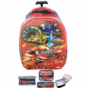 BGC 5 Dimensi Cars McQueen Best Race Tas Troley Anak TK IMPORT + Lunch Bag ALuminium