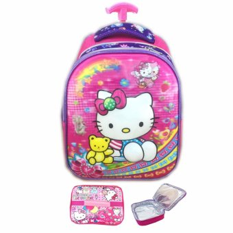 BGC 5 Dimensi Hello Kitty IMPORT Tas Troley Anak Sekolah TK + Lunch Bag ALuminium Tahan