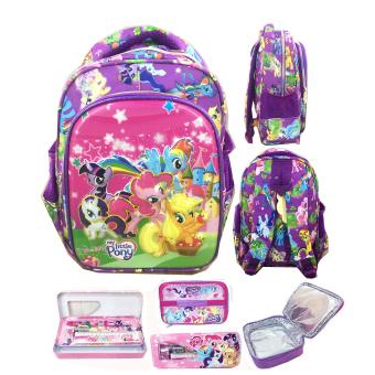 BGC 6 Dimensi Lapisan Anti Gores My Little Pony Tas Ransel Anak TK IMPORT + Lunch