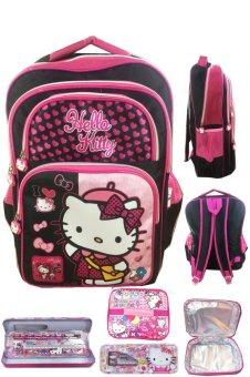 BGC Hello Kitty 4 Kantung IMPORT Tas Ransel Anak Sekolah SD + Lunch Bag Aluminium Tahan