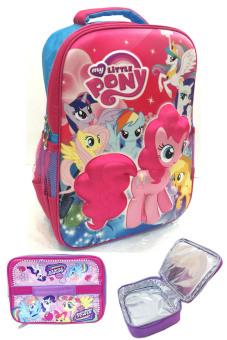 BGC My Little Pony 3D BonekaTimbul Hard Cover Tas Ransel Sekolah Anak SD + Lunch Bag