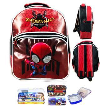 BGC Tas Ransel Sekolah Anak TK Spiderman Funko Rare 3D Timbul + Lunch Bag Aluminium Tahan