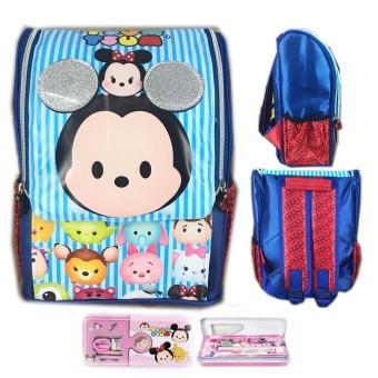 BGC Tas Ransel Sekolah Anak TK Tsum Tsum 3D Timbul Jepang + Kotak Pensil Alat Tulis