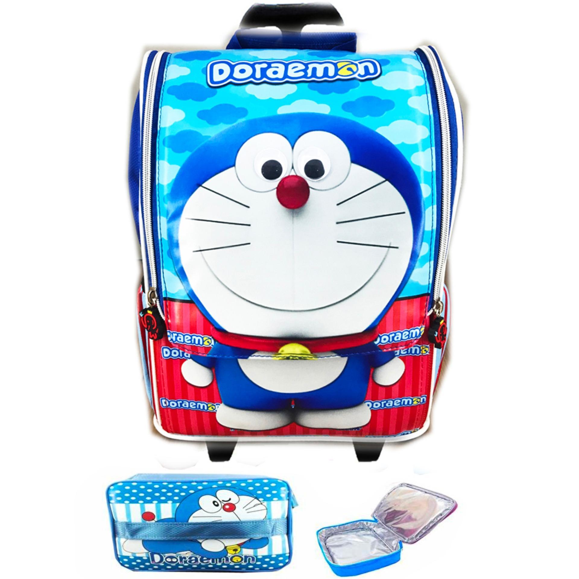 Hot Deals BGC Tas Troley Sekolah Anak TK Doraemon 3D Timbul Jepang + Lunch bag Aluminium