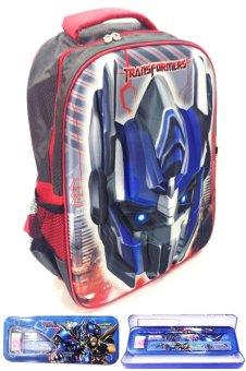 BGC Transformer Optimus Prime 3D Timbul Hard Cover Tas Sekolah Anak SD + Kotak Pensil +