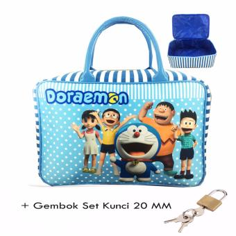 BGC Travel Bag Kanvas Doraemon And Friends + Gembok Set Kunci 20mm- Blue White