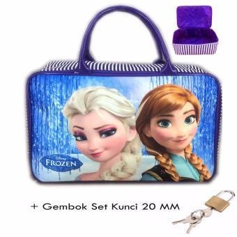 BGC Travel Bag Kanvas Frozen Elsa Anna Wiinter + Set Gembok Kunci 20mm