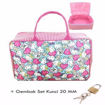 BGC Travel Bag Kanvas Hello Kitty Full Motif Kitty + Gembok Set Kunci 20mm