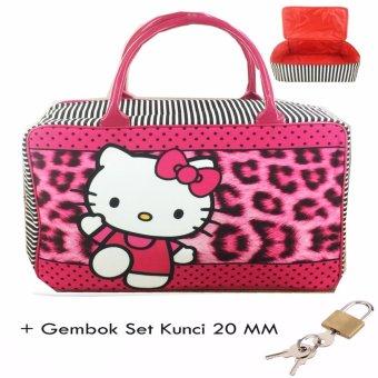 BGC Travel Bag Kanvas Hello Kitty Leopard + Gembok Set Kunci 20mm - Black Pink