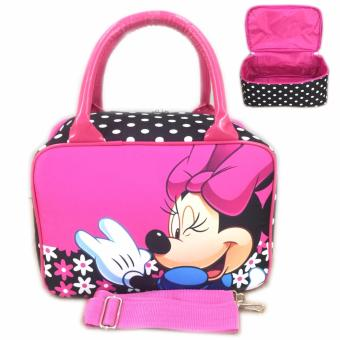 BGC Travel Bag Kanvas Mini + Selempang Minnie Mouse - Black Pink