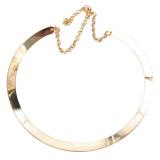 Detail Gambar Gadis Tipis Kalung Cermin Logam Choker Berlapis Emas Perhiasan Lingkaran Terbaru