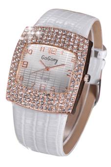 Jam Tangan Perhiasan Wanita Bluelans Dengan Strap Kulit Berlian Imitas (putih)