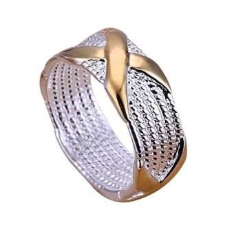 BODHI Women Pernikahan Keemasan Berlapis Perak X Fashion Perhiasan UKURAN 6 7 8 9 A.S. 9