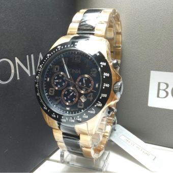 Bonia Jam Tangan Pria Bonia BPT176-1534C Black Rosegold Stainless Steel