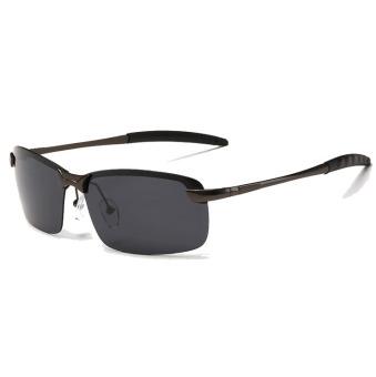 VEITHDIA Terpolarisasi Kacamata Hitam Pria Perak Bingkai Kelabu Lensa 3043