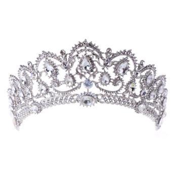 Pengantin Putri Menakjubkan Berlian Buatan Rambut Tiara Pernikahan Mahkota Kerudung Ikat Kepala Prom