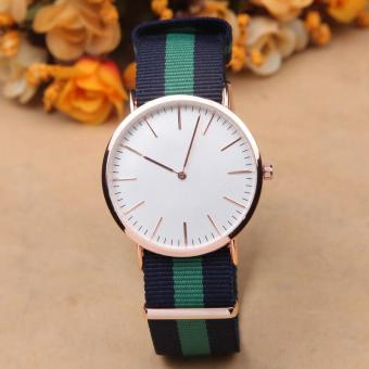 BUY IN COINS Jam Tangan Wanita Men Leather Nylon Strap Rosegold (Multicolor)