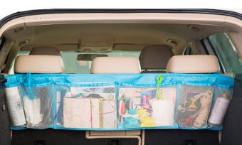 Car Seat Back Tidy Organiser Multi-Pocket Auto Travel Hanging Storage Bag Holder -BIRU