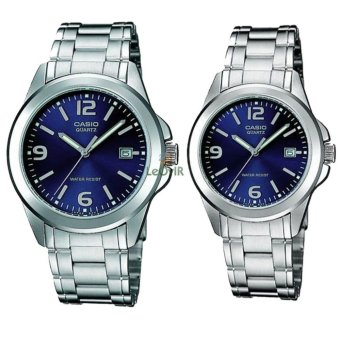 Casio Couple MTP Dan LTP-1215A-2A - Jam Tangan Couple - Silver Blue - Strap Stainless Steel - LM