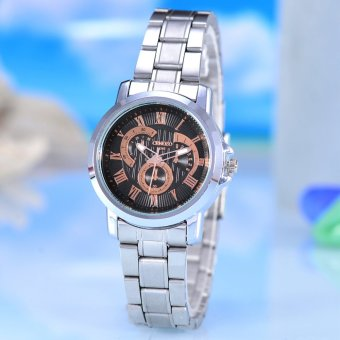Cenozo - Jam Tangan Pria - Body Silver - Black Rose Dial -Stainless steel band