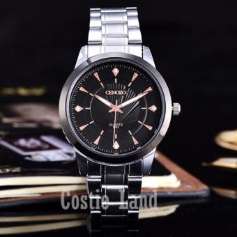 Cenozo - Jam Tangan Pria - Body Silver - Black/RoseGold Dial - Stainless Steel