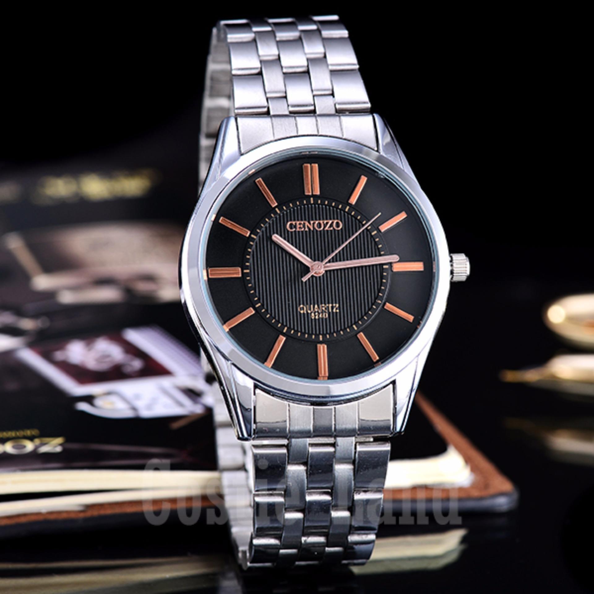 Hot Deals Cenozo - Jam Tangan Pria - Body Silver - Black/RoseGold Dial -
