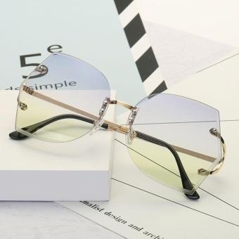 CHIC Unik Transparan Kacamata Wanita Rimless Glasses Besar Summer Clear Lens Big Ukuran Sunglasses 05-