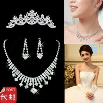... Mempelai Wanita Menikah Gaun Pengantin Gaun Source · Mahkota Model Korea Pernikahan Tiga Set Dipasang Gaun Pengantin Gaun Kalung Anting