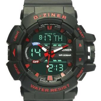 D-ziner Dual Time - Jam Tangan Pria - Rubber Strap - DZ 8670